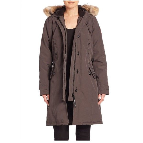 Canada Goose Fur-Trimmed Kensington Down Parka found on Polyvore featuring polyvore, women's fashion, clothing, outerwear, coats, graphite, parkas, hooded coat, fur hood parka and canada goose parka
