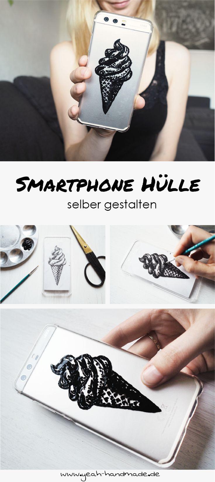 DIY Smartphone Hülle selber gestalten. Mit Acrylfarbe das eigene Lieblingsmotiv stoßfest auf die Handyhülle bringen. DIY Anleitung auf Yeah Handmade.