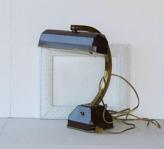 Vintage Piano Lamp  Desk Lamp Brown Maroon by VintageSouthernPicks