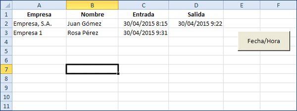Proceso para insertar fecha y hora actual en una celda Excel con botón