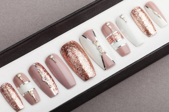 Luxury Rose Gold With White Press On Nails Rose Gold Etsy Glue On Nails Rose Gold Nails Rhinestone Nails