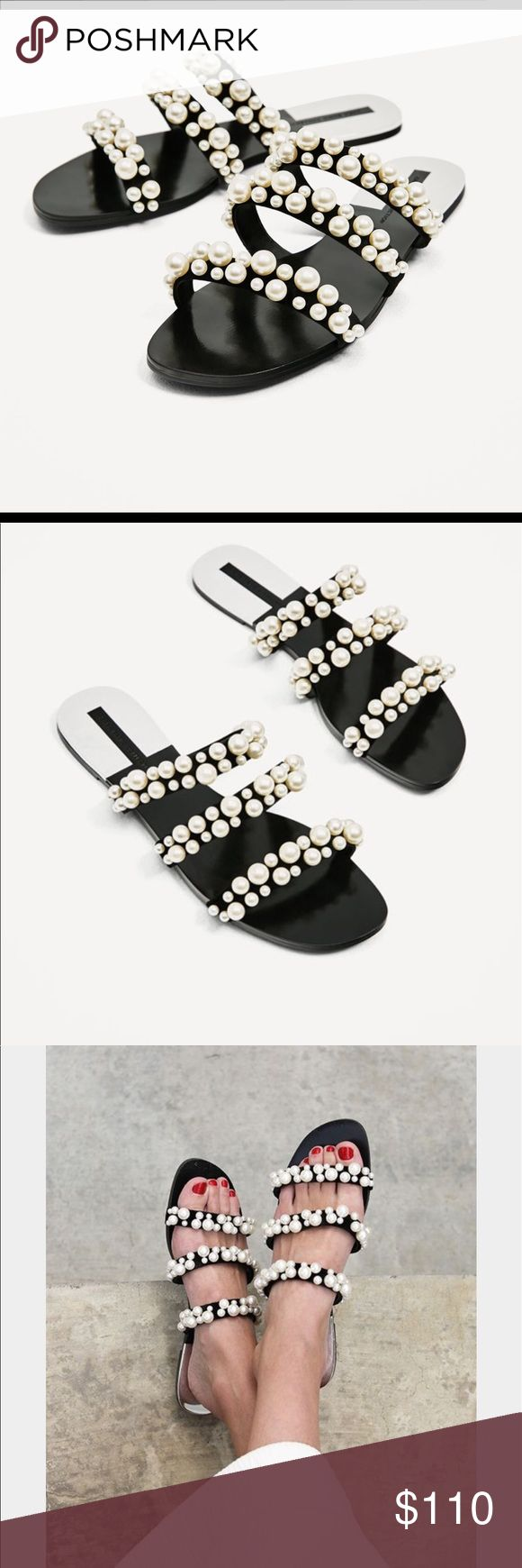 Zara Pearl Sandals- 37- New- SOLD OUT Brand new Zara pearl slide sandals. These have sold out online and are a blogger favorite! Incredibly comfortable, well made and true to size (size 37). The bottom is bendable and a rubber like material. Please ask any questions if you have them! Zara Shoes Sandals