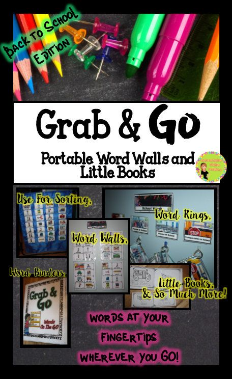 Grab & Go! Portable Word Walls and Little Books. Help kids explore concepts by identifying and sorting pictures with words. Contain the thematic words in a variety of easy ways. Use word rings, binders, or simply put on the wall. Little books with one word are perfect for preschool or kindergarten. Back to School Edition. $