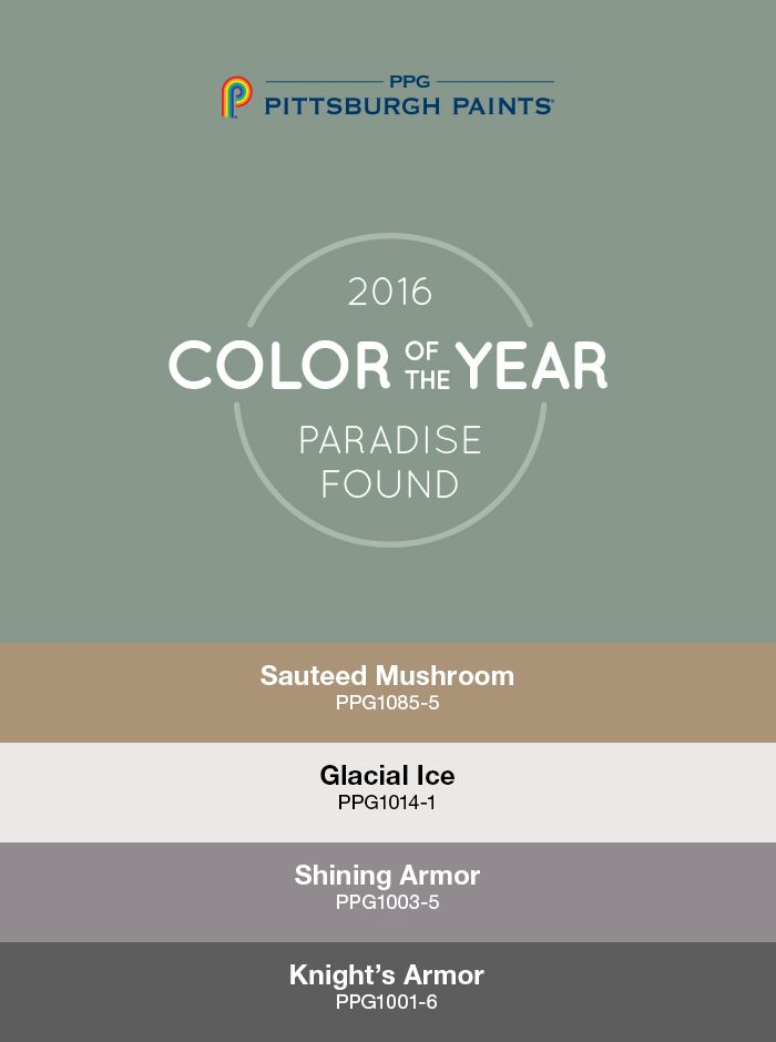 This palette represents a new direction for 2016 characterized by a design sensibility that is edgy, structural, masculine, dark & sturdy. Drawn from consumers' increasing desire for safety & security, the elements of this theme, including colors that are primarily dark & neutral in nature, work together to convey strength & protection. The Color of the Year, Paradise Found is a rich, camouflage-inspired hue. Ample gray Shining Armor + Sautéed Mushroom brown are equally serious & safe.