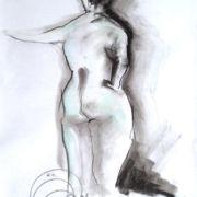 "Tiffany sculptural 2009, ÖMiserany© 16"" x 12"", fusain sur papier  disponible omiserany.com"