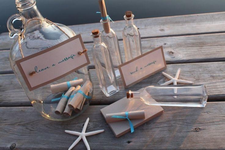 livre d'or mariage original de style bord de mer: message en bouteille