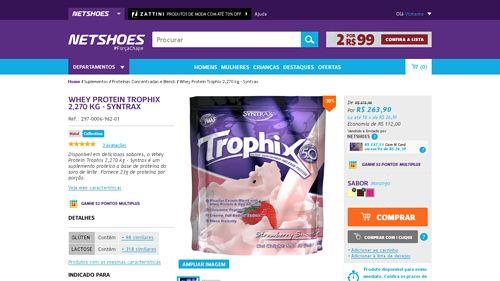 [Netshoes] Whey Protein Trophix 2,270 kg - Syntrax - Unissex - 0893912124984 - de R$ 286,83 por R$ 263,90 (7% de desconto)