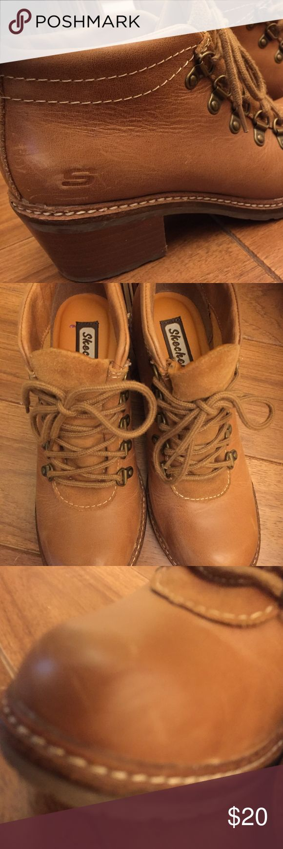 Sketchers Boots Sketchers tan eyelet boots with wooden heals. Skechers Shoes Ankle Boots & Booties