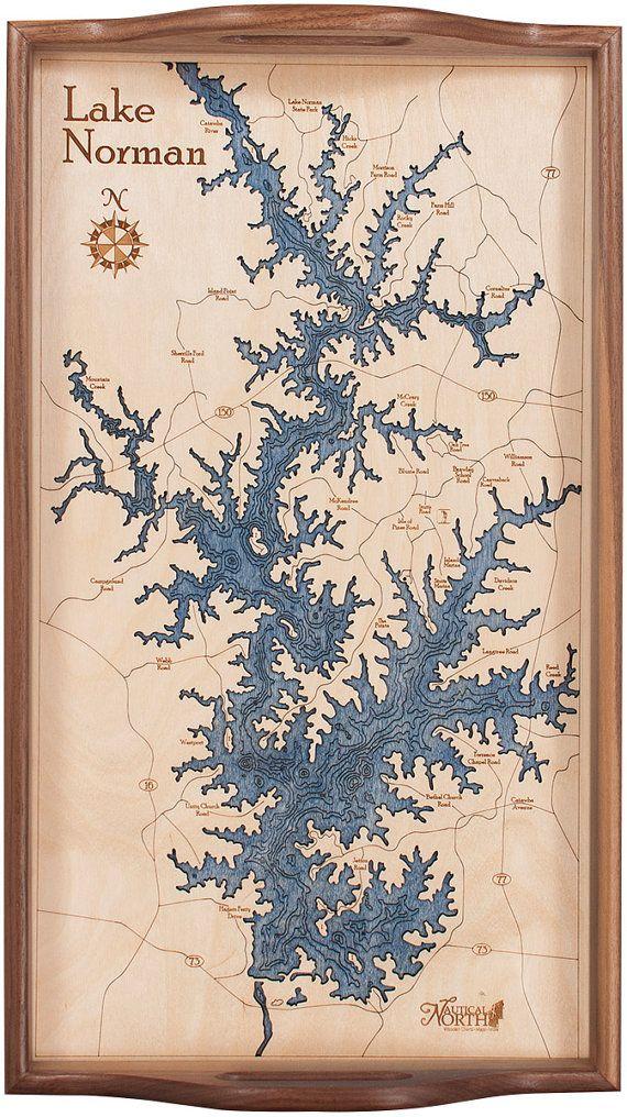 Lake Norman|Serving Tray|Wood Chart|Art|Wood Map|Lake ...