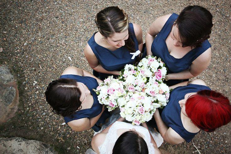Bride & Bridesmaids + flower posies
