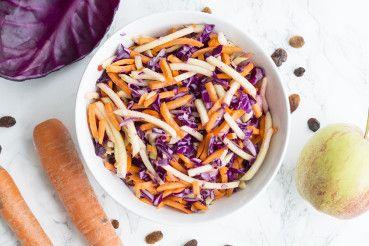 Recept: coleslaw van rode kool, wortel en appel