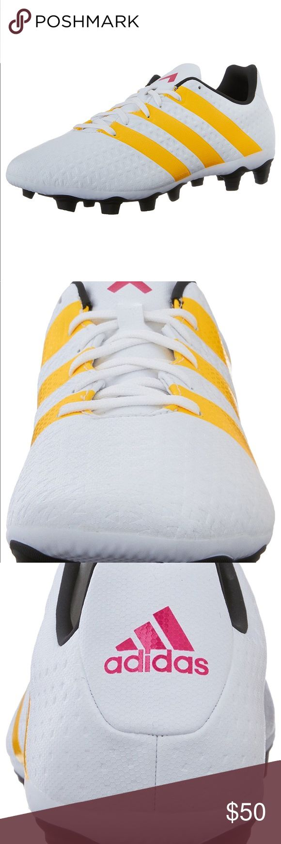 New Adidas Women Ace 16.4 FxG W NIB WHT/GLD/BLK These women's soccer cleats are made for the player who never gives her opponents even a hint of a chance. A soft synthetic upper improves every touch. Designed for hard ground and artificial and natural grass. adidas Shoes Athletic Shoes