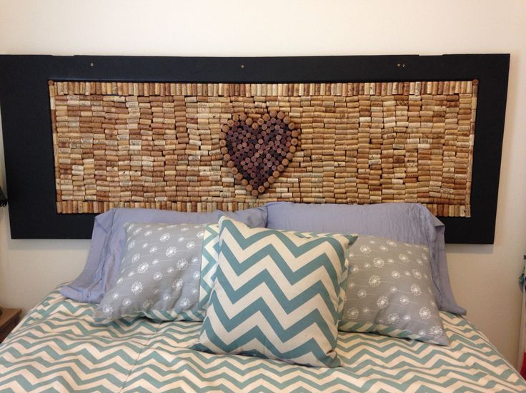 Wine Cork Headboard And Hand Sewn Pillows Crafting With