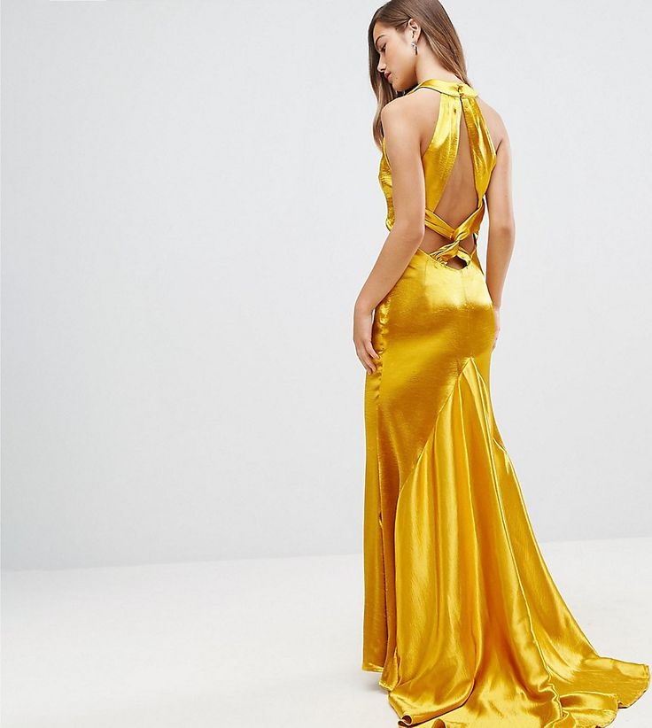 Jarlo Petite High Neck Fishtail Maxi Dress With Strappy Open Back Deta
