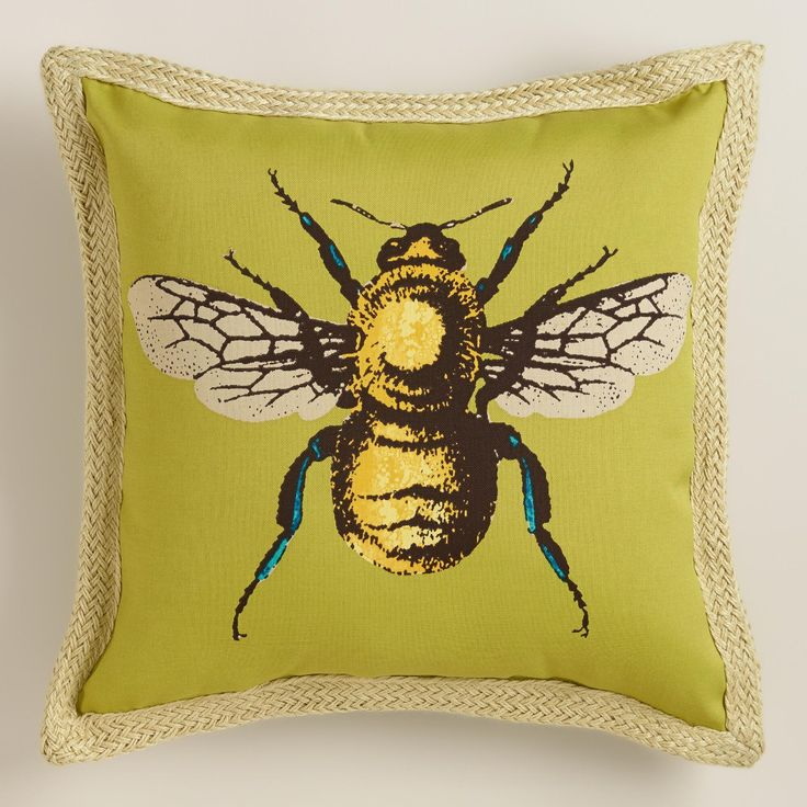 Decorated with our detailed bee artwork and jute flange borders, our exclusive toss pillow is made of high-performance polyester for long-term outdoor use.  >> #WorldMarket #OutdoorLiving #WorldMarketLove4Outdoors