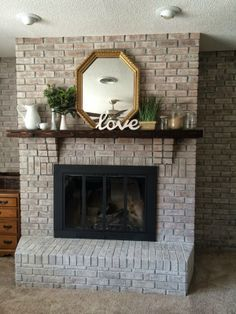 White washing brick with gray beige //Walking with Dancers: The Family Room's Fireplace Update
