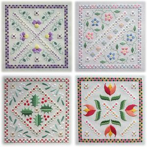 Floral Tiles - Pansies, Holly & Mistletoe, Forget-Me-Not and Tulips – four designs united by a textured Rhodes border, satin stitch flowers, strong Kloster block shapes and beaded filling stitches.