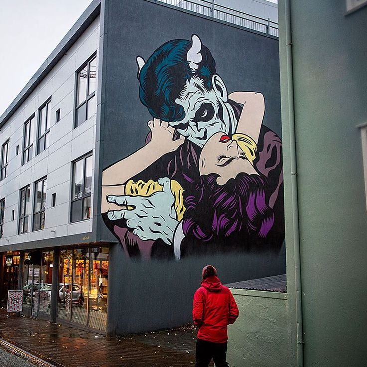 """Laxdæla - a famous Icelandic saga of betrayal and intrigue. The core quote of the story of a love triangle between two brothers and a girl: """"To him I was worst whom I loved most"""". The mural is a painting by  @dface_official for the project 'Wallpoetry' by  Iceland Airwaves. Roam the streets of Reykjavík for more modern visual representations of the old classic Icelandic sagas."""