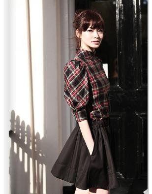 Amazon.co.jp: (フルールドリス)Fluer de lis タータンチェック チェック パフスリーブ シャツ ワイシャツ Yシャツ ドレスシャツ カジュアル アパレル レディース ファッション 服 7378 (M): 服&ファッション小物通販