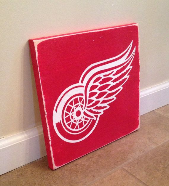 Detroit Red Wings sign  wood wall art by MittenMadeDesigns on Etsy