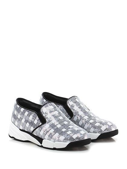 Pinko - Sneakers - Donna - Sneaker in paillettes con suola in gomma, tacco 45, platform 25 con battuta 20. - BIANCO\ARGENTO - € 265.00