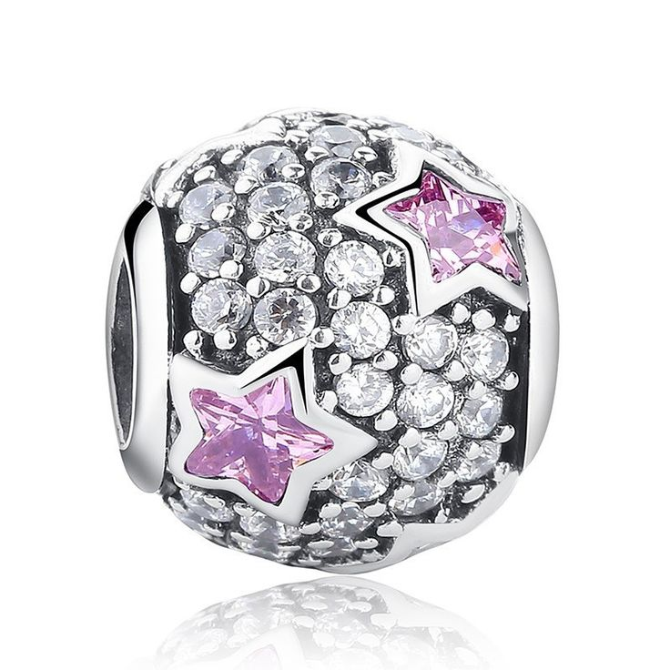 Charm : 925 Sterling Silver Princess Pink Stars Bracelet Charm #jewelry #fashion #style #charm # bracelet #silver #prom #teenfashion