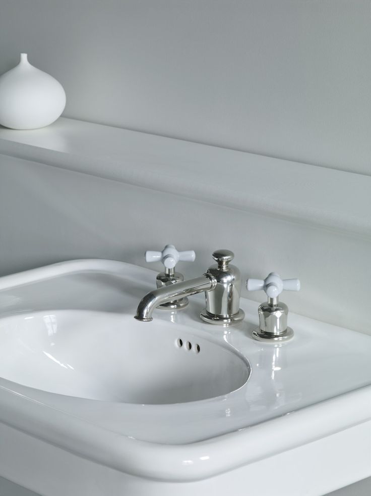 Rockwell three hole basin mixer with grey crosshead valves shown here in polished nickel. #rockwell #greytaps #watermonopoly www.thewatermonopoly.com