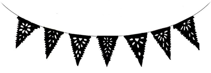 Mini Black Bunting Flag Banner Mexican Paper Cut Banner ...