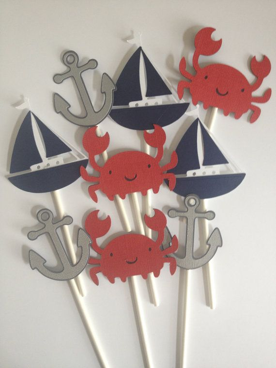 12 Nautical Themed Cupcake Toppers, Crabs, Sailboats,Anchors by MiaSophias on Etsy, $11.99