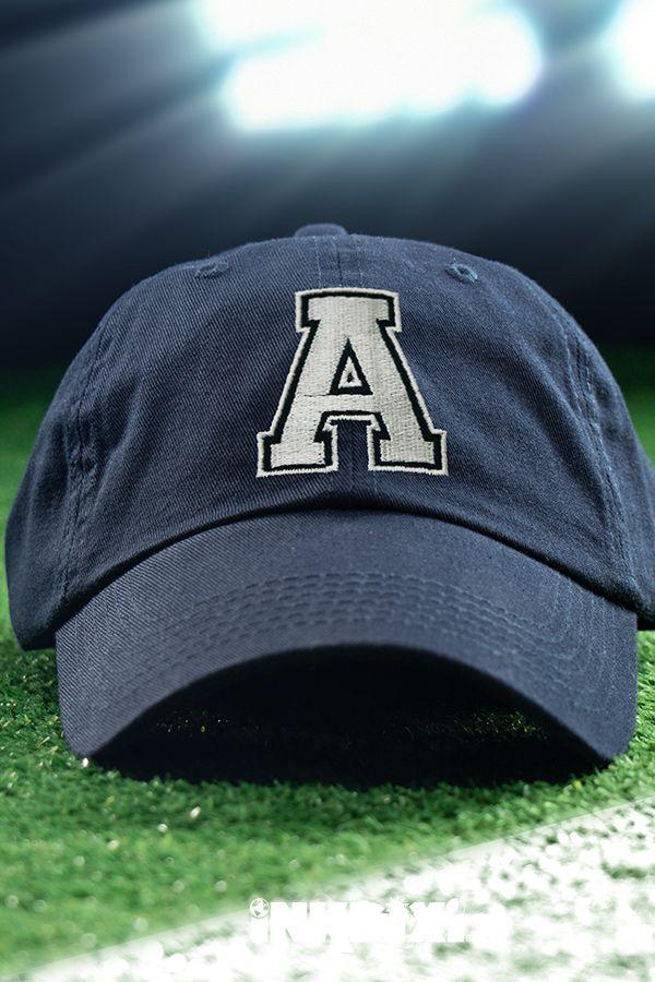 af437359b Varsity Letter Navy Embroidered Hat in 2019 | Custom Hats | Hats ...