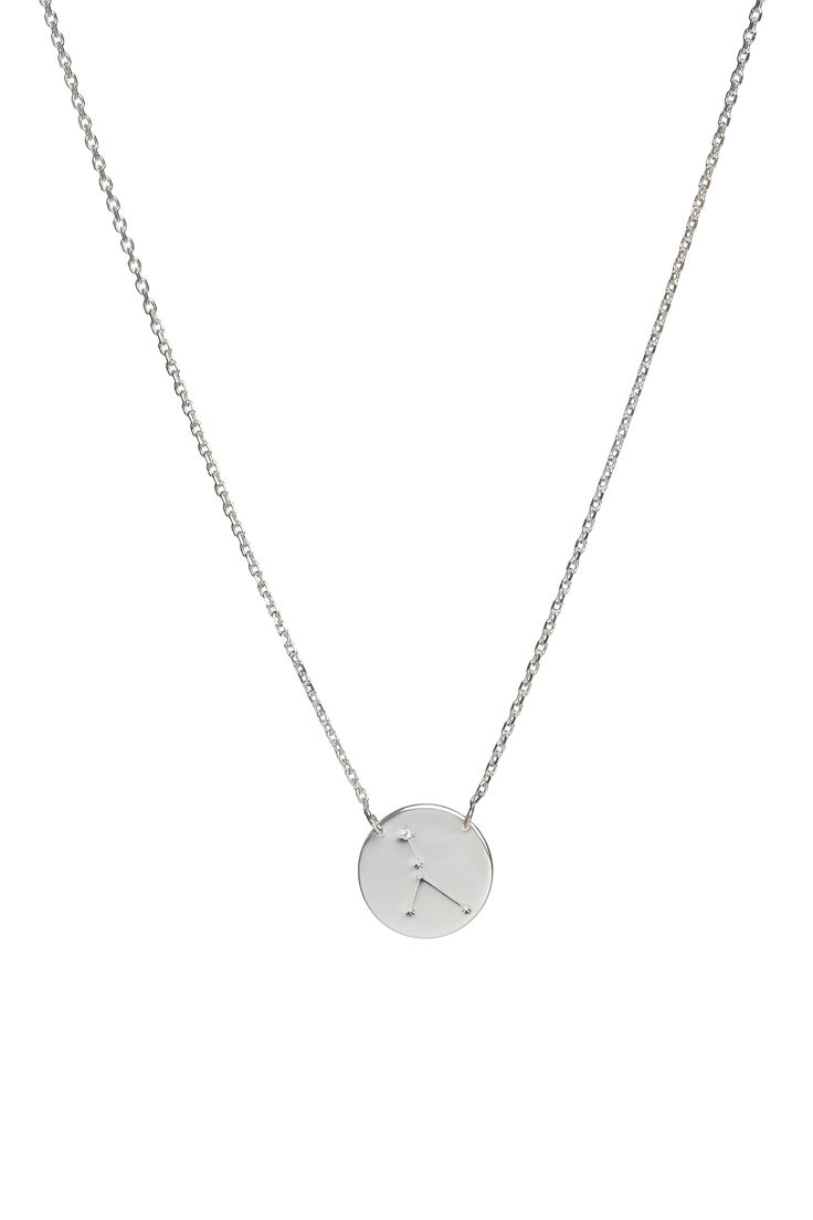 Cancer constellation necklace in 14k gold and a diamond. June 21 to July 22.  Available in white or yellow gold. Free personalized engraving on the back of the pendants. Shop the collection at www.reena.ro or order directly at reena.orders@gmail.com.