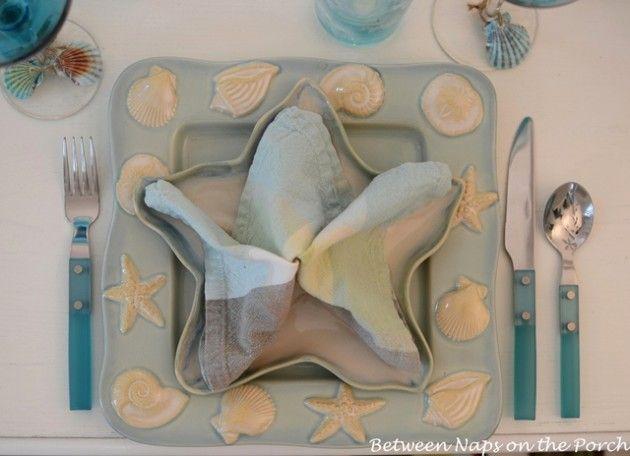 Starfish Napkin Fold for a Beach Themed Table Setting