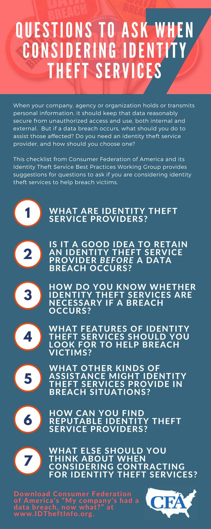 The Consumer Federation of America released this checklist to help you choose the best identity protection for you.