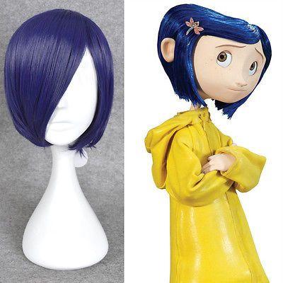 Coraline Cosplay Wig Short Bob Straight Blue Hair Halloween Full Wigs + A Cap