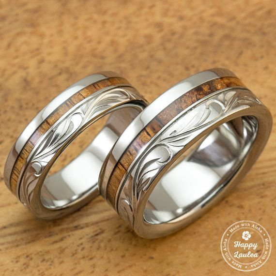 Titanium Wedding Band Set with Hawaiian Koa Wood Inlay Hand Engraved with Hawaiian Heritage Design (6 & 8mm Width, Flat Style)