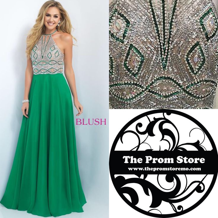 Scared to go strapless? Check out this green Blush prom dress. Also come in lipstick pink and royal blue. Style #11002 www.thepromstoremo.com