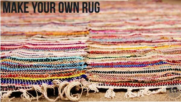 DIY Large Rustic Area Rug | Great idea to create a large area rug for cheap!