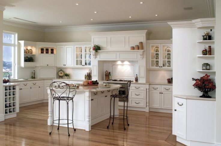French Kitchen Furniture: Modern Twist Of French Provincial Kitchens Design With White Kitchen Cabinets Design And Center Kitchen Island With Tall Chairs Design