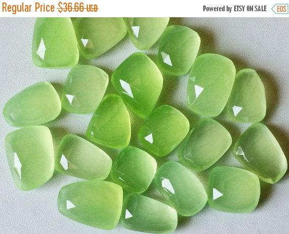 SALE 40% Apple Green Chalcedony Cabochons Rose by gemsforjewels