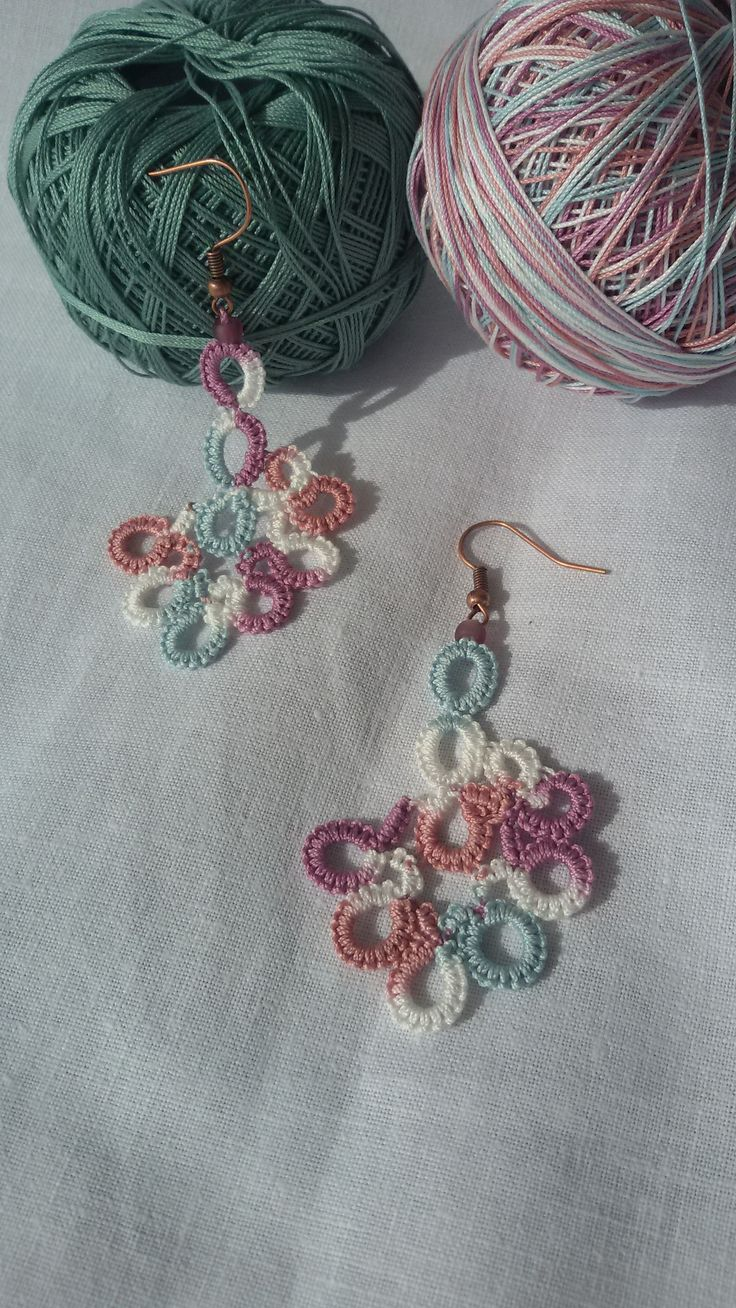 tatting earrings by fotini .. full of colors