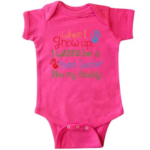 Inktastic French Teacher Like Daddy Infant Creeper Baby Bodysuit Child's Kids Gift Teacher's Son Childs My Cute Occupation Apparel Job Career Handprints One-piece Hws, Boy's, Size: Newborn, Pink