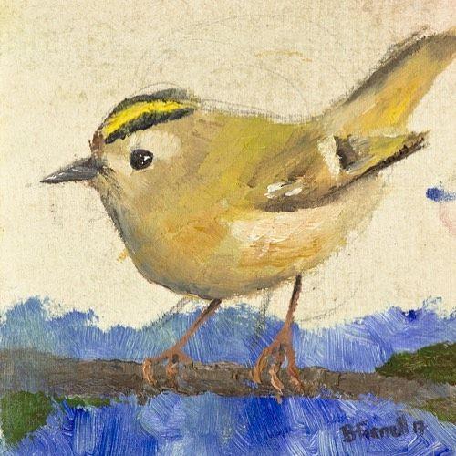 Goldcrest Oil painting by Ben Farnell  http://ift.tt/2AgNjvo  http://ift.tt/2AYrv3U  #birdartben #oilpainting #goldcrest #etsy #birds #birdart
