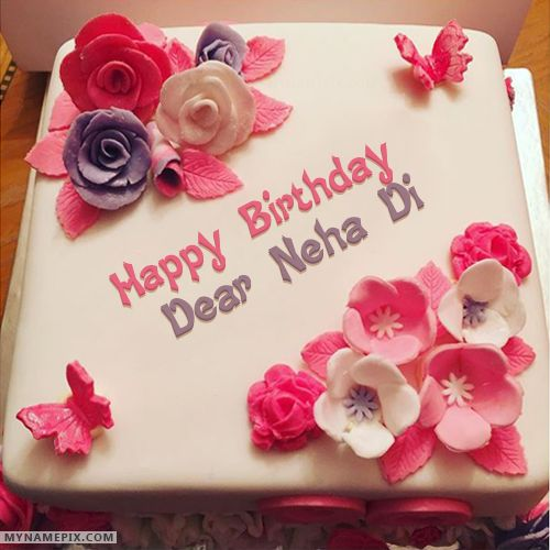 The Name Dear Neha Di Is Generated On Beautiful Birthday Cake For