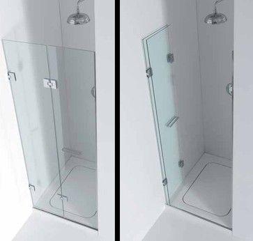 A shower door that folds up back against the wall - great for a small shower. - To connect with us, and our community of people from Australia and around the world, learning how to live large in small places, visit us at www.Facebook.com/TinyHousesAustralia