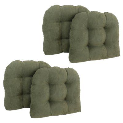 Blazing Needles Microsuede U Shaped Indoor Chair Cushion - Set of 4 Sage - 93184-4CH-MS-SG