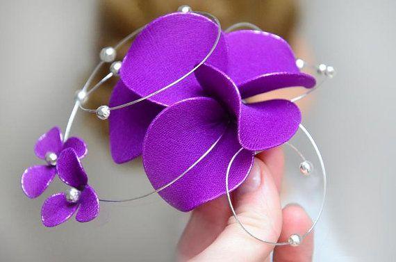 Purple fascinator Bridesmaid headpiece Eggplant fascinator Purple hairpiece Wedding hair comb Wedding headpiece Hair comb by #MyArtDeco