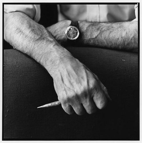 Lucio Fontana hand with tool by Lothar Wolleh