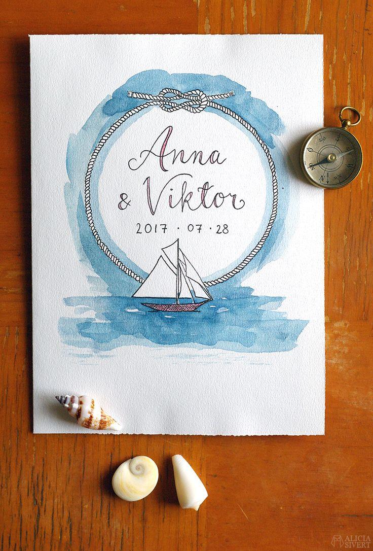 Bröllopskort med segelbåt marint tema, akvarell och tusch av Alicia Sivertsson.