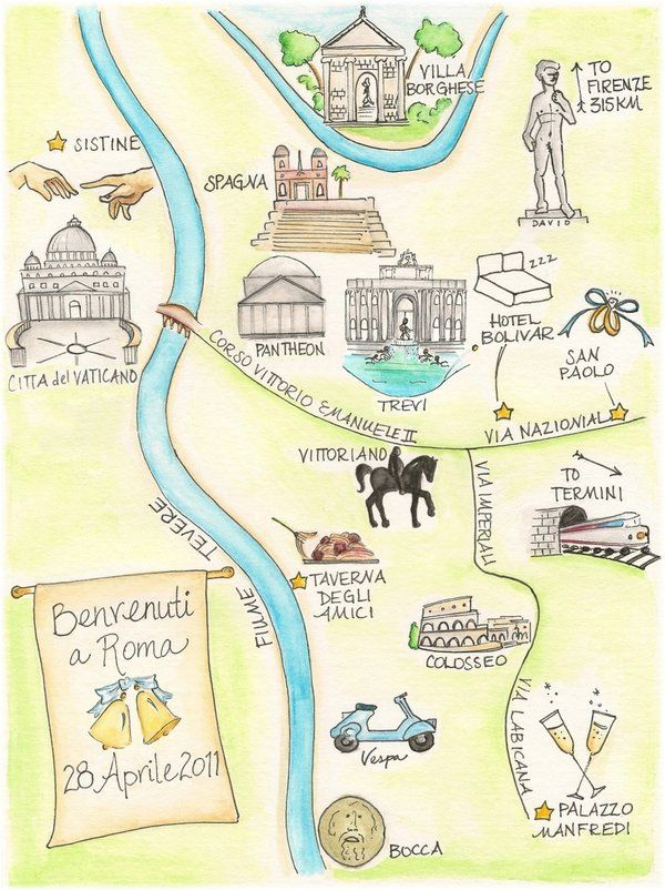 Custom wedding map of Rome. I will have this... just not for Rome.