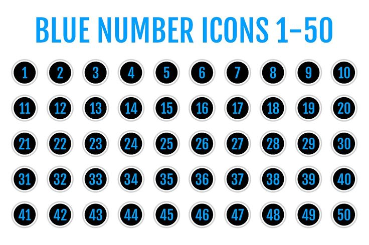 Blue Number Icons 1-50 by Alfredoh on @creativemarket